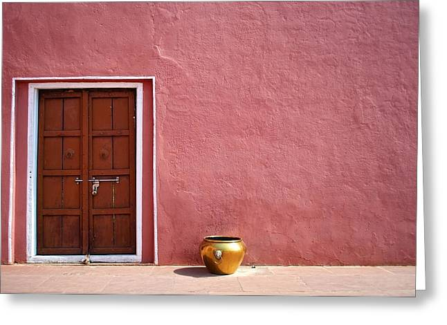 Pink Wall And The Door Greeting Card