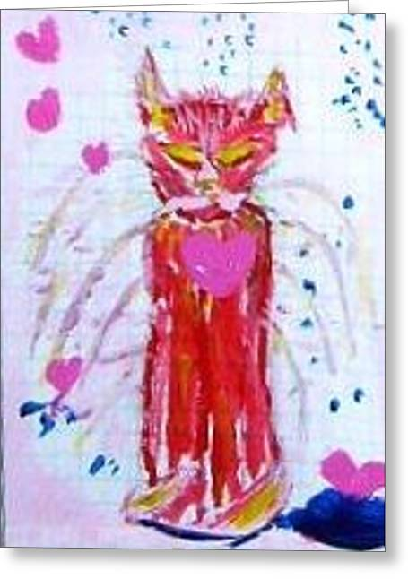 Greeting Card featuring the painting Pinky by Leslie Byrne