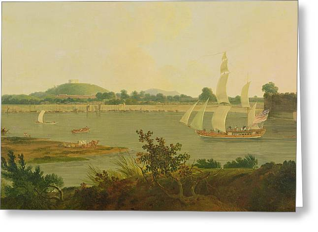 Pinnace Sailing Down The Ganges Past Monghyr Fort Greeting Card by Thomas Daniell