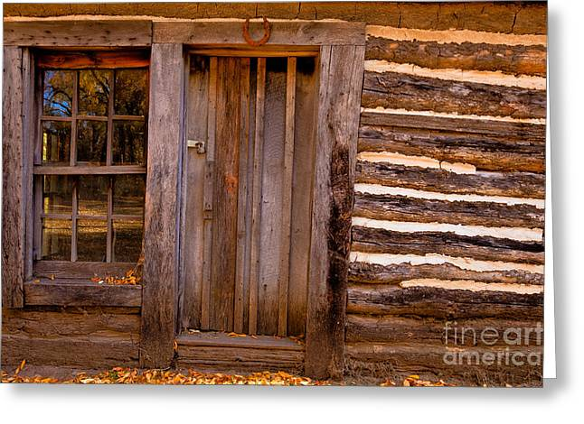 Greeting Card featuring the photograph Pioneer Cabin by Lawrence Burry