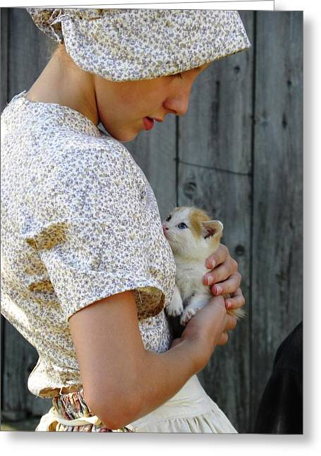 Pioneer Girl With Kitten Greeting Card