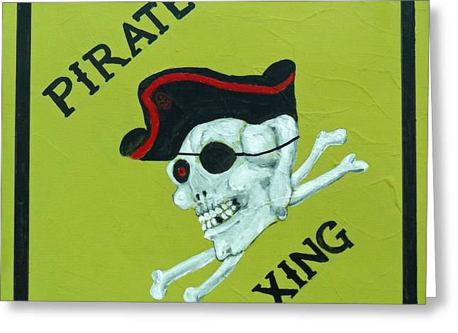Greeting Card featuring the painting Pirate Crossing Beware by Doris Blessington