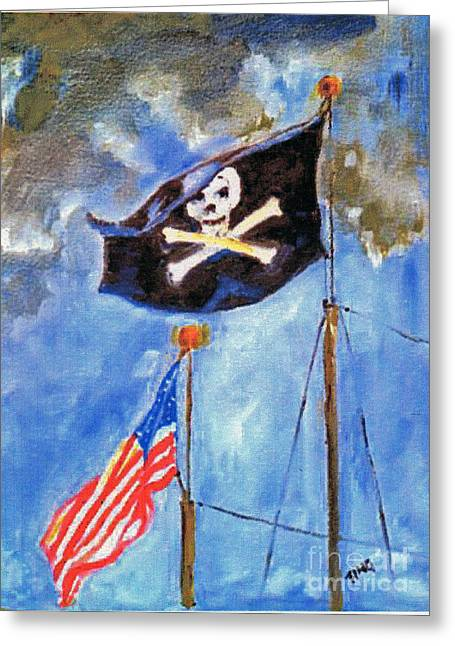 Greeting Card featuring the painting Pirate Flag Over Savannah by Doris Blessington