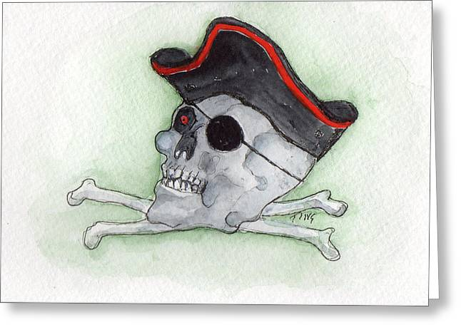 Greeting Card featuring the painting Pirate Greetings by Doris Blessington