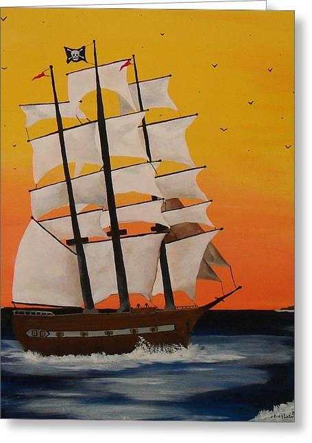 Pirate Ship At Dawn Greeting Card by Paul F Labarbera