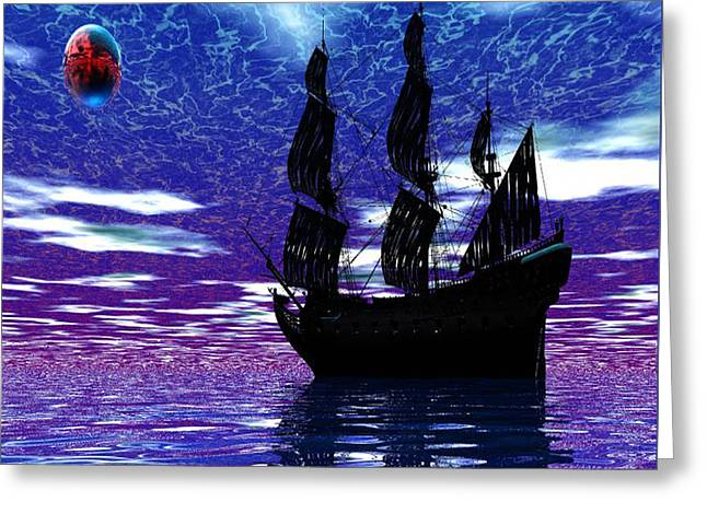 Pirate Ship Greeting Card by Matthew Lacey