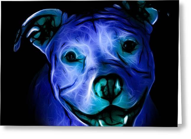 Pitbull Terrier - F - S - Bb - Blue Greeting Card