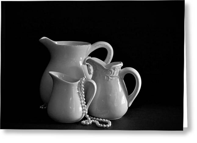 Pitchers By The Window In Black And White Greeting Card by Sherry Hallemeier