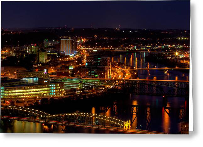 Pittsburgh From Across The Monongahela River Greeting Card by David Hahn