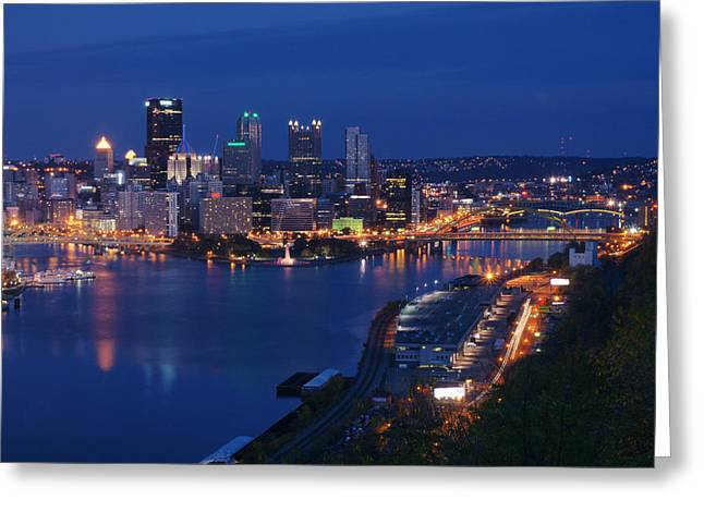 Pittsburgh In Blue Greeting Card