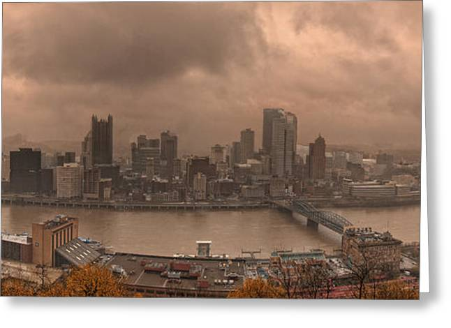 Pittsburgh Skyline 1 Greeting Card by Wade Aiken