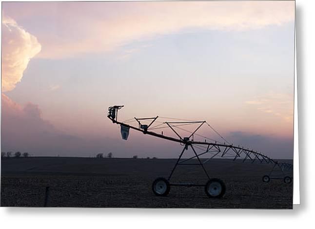 Pivot Irrigation And Sunset Greeting Card by Art Whitton