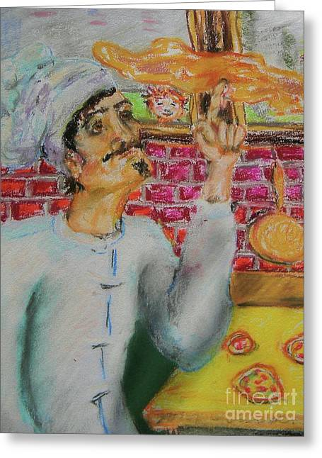 Pizza Chef Greeting Card by Emily Michaud
