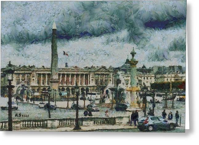 Place De La Concorde Greeting Card by Aaron Stokes