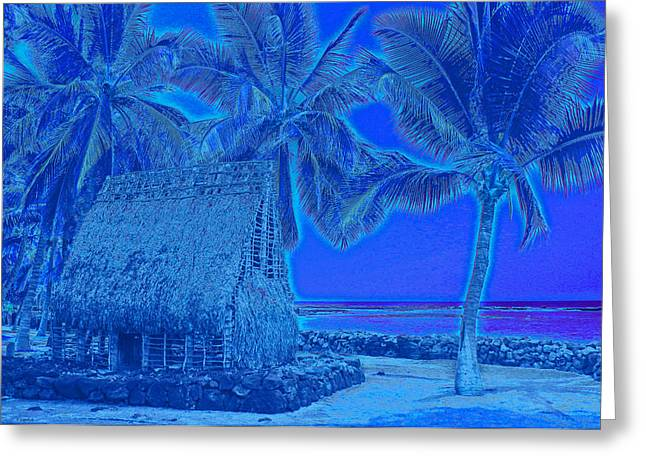 Greeting Card featuring the digital art Place Of Refuge In Blue by Kerri Ligatich
