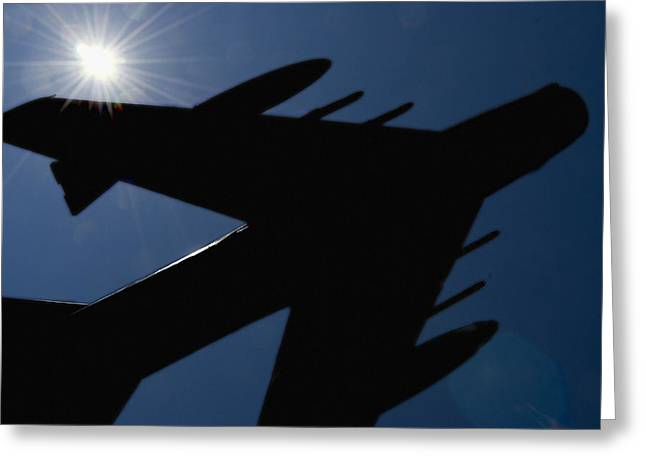 Plane Against The Sky  Greeting Card by Cliff Norton