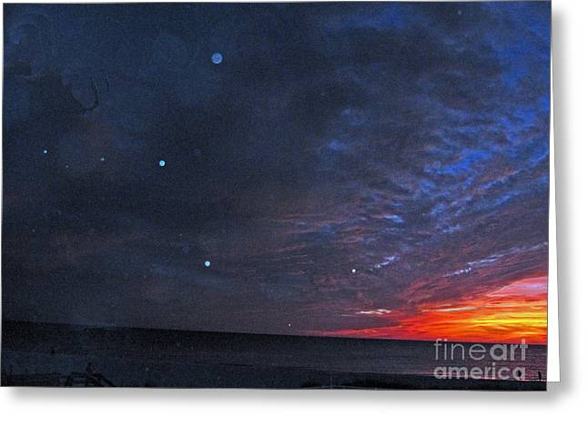 Planets Revealed At Sunset Greeting Card by Joan McArthur