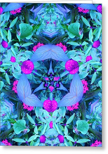 Plants In Blue Greeting Card by Bruce Bley