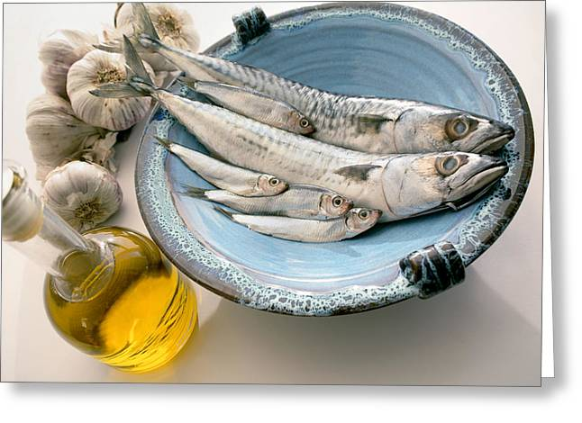 Plate Of Mackerel Greeting Card by Erika Craddock