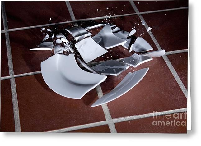 Plate Smashing Greeting Card by Ted Kinsman