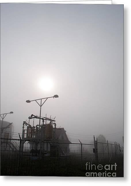 Platform At Petrocor In The Fog Greeting Card by Gary Chapple