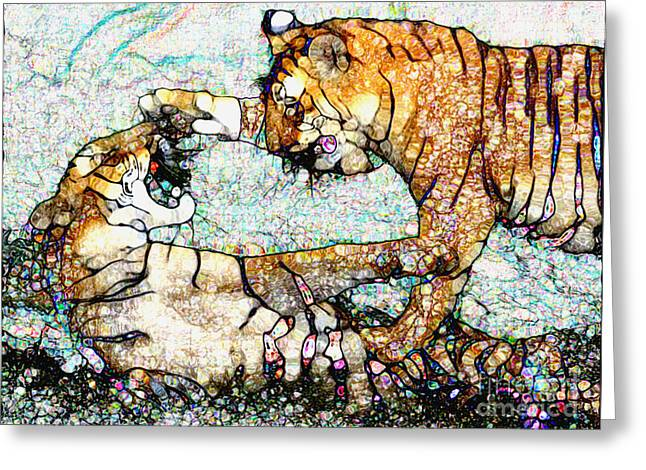 Greeting Card featuring the painting Playing Bengals by Elinor Mavor