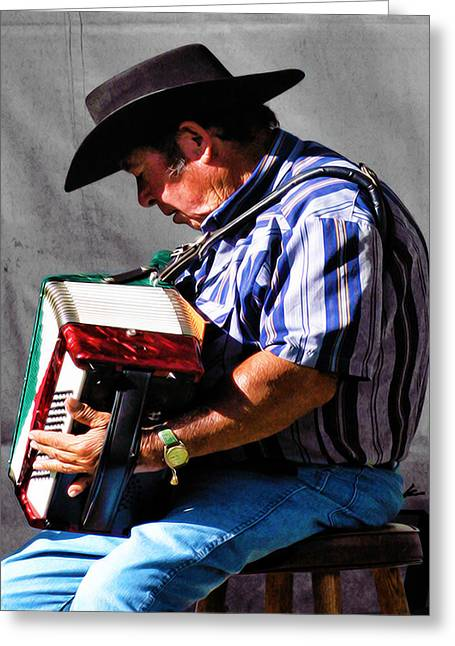 Playing For Taos Greeting Card by Terry Fiala