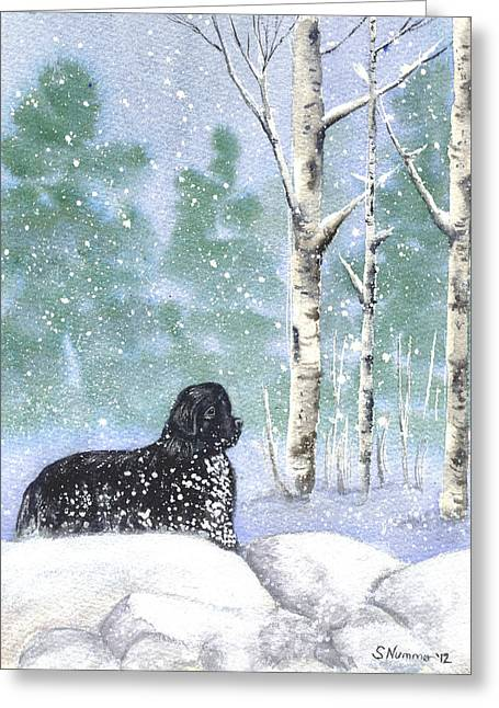 Playing In The Blizzard Greeting Card by Sharon Nummer