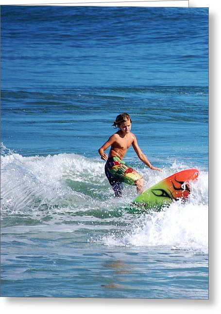 Playing In The Surf Greeting Card by David Lane