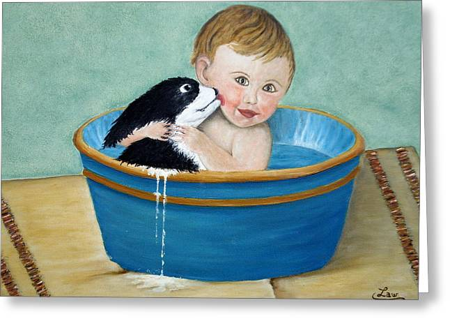 Playing In The Tub Greeting Card by Chris Law