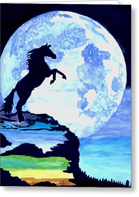 Playing With The Moon Greeting Card by Connie Valasco