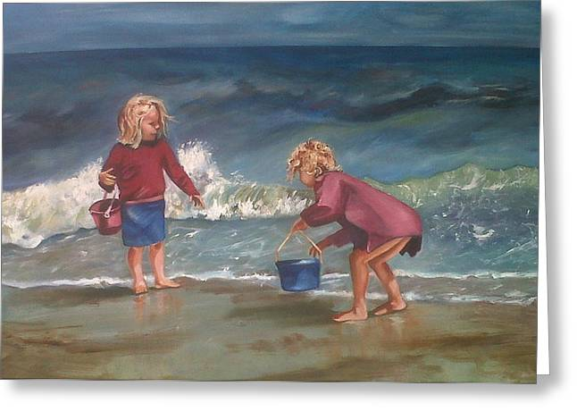 Playtime At The Beach Greeting Card by Elani Van der Merwe