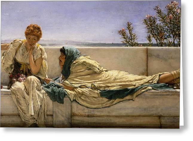 Pleading Greeting Card by Sir Lawrence Alma-Tadema