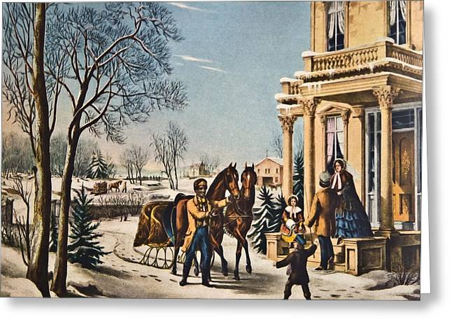 Pleasures Of Winter By Currier And Ives Greeting Card by Susan Leggett