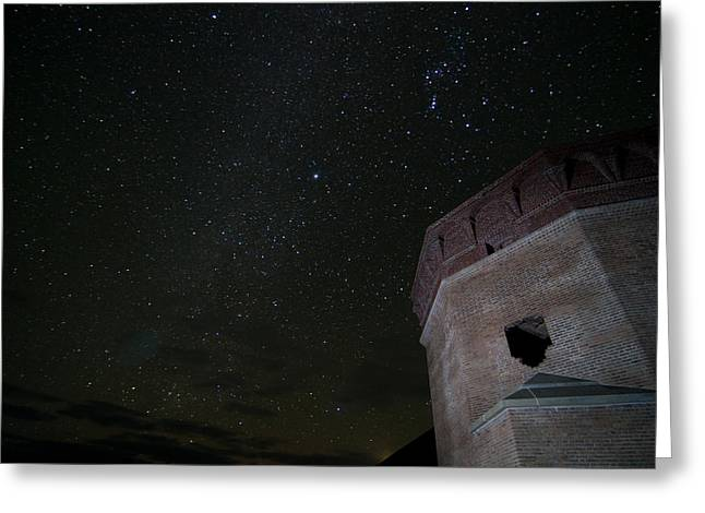 Pleiades Over Fort Jackson In Florida Keys Greeting Card by Andres Leon