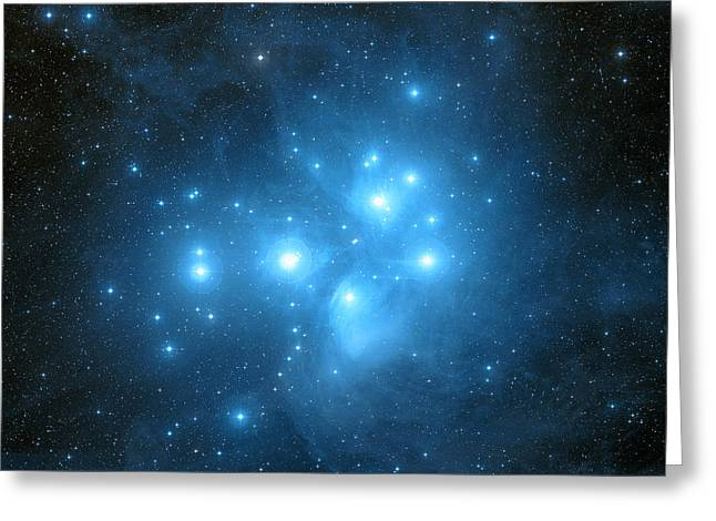 Pleiades Star Cluster Greeting Card by Davide De Martin