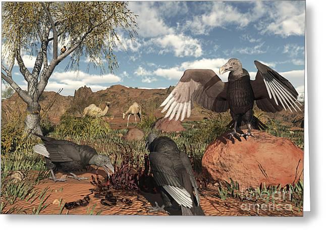 Pleistocene Black Vultures Feed Greeting Card