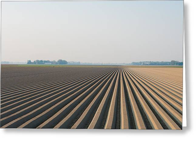 Greeting Card featuring the photograph Plowed Field by Hans Engbers