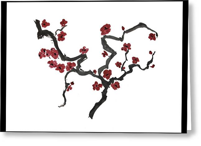 Plum Blossoms Greeting Card by Alethea McKee