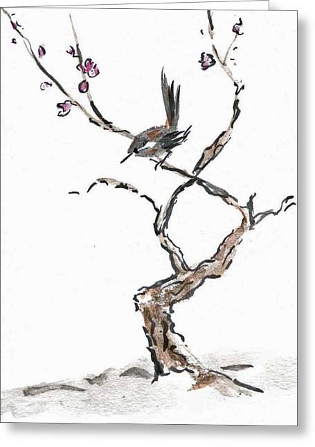 Plum Blossoms Greeting Card by Ellen Miffitt