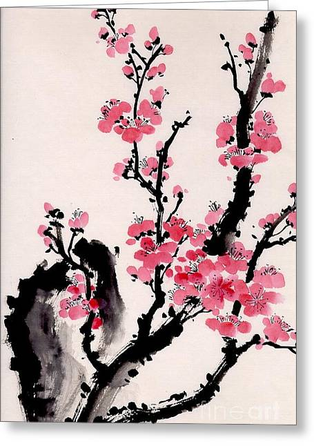 Plum Blossoms Iv Greeting Card by Yolanda Koh