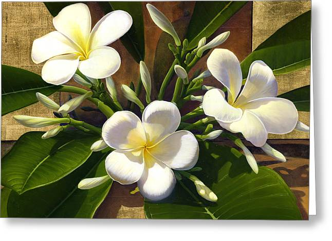 Plumeria Greeting Card by Anne Wertheim