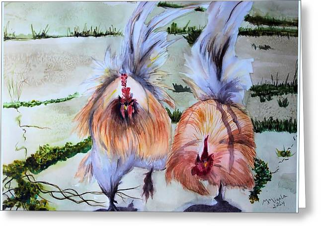 Plump Chickens Greeting Card by Myrna Migala