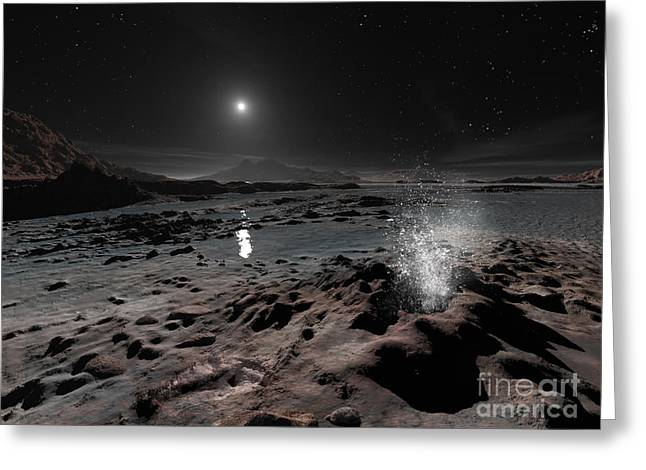 Pluto May Have Springs Of Liquid Oxygen Greeting Card by Ron Miller