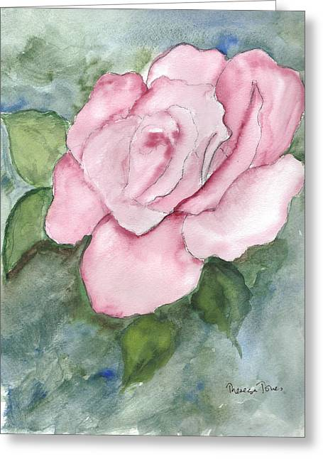 Pnk Rose Greeting Card by Theresa Jones