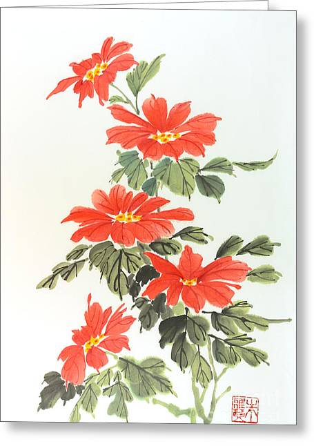 Poinsettias Greeting Card by Yolanda Koh