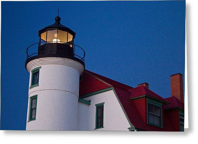Point Betsie Lighthouse At Dusk Greeting Card