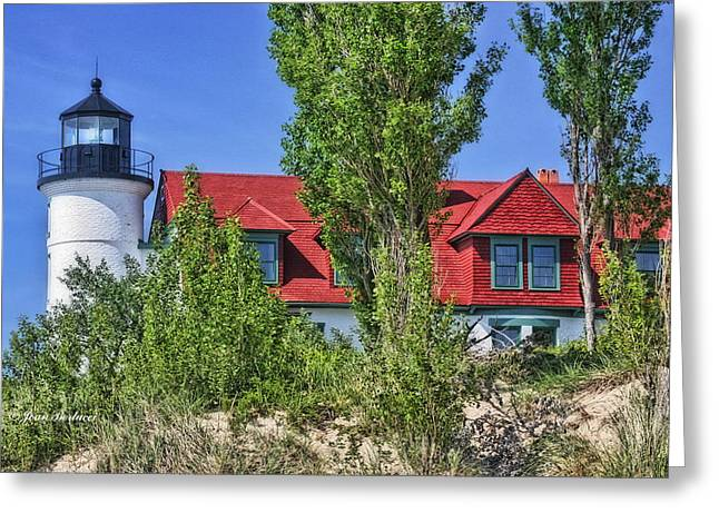 Greeting Card featuring the photograph Point Betsie Lighthouse by Joan Bertucci