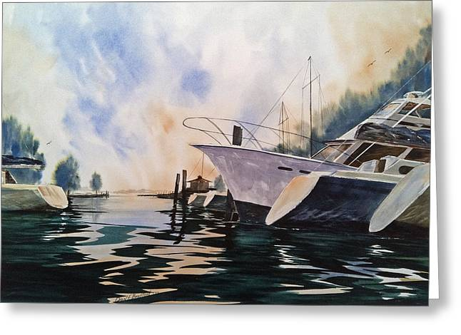 Point Clear--after A Summer Rain--- Mobile Bay Greeting Card by Don F  Bradford
