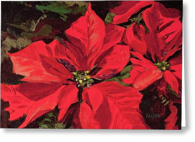 Pointsettia Flower Greeting Card by J R Baldini